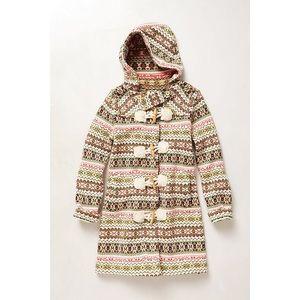 Anthro Fair Isle Sweater Coat size SMALL 100% wool